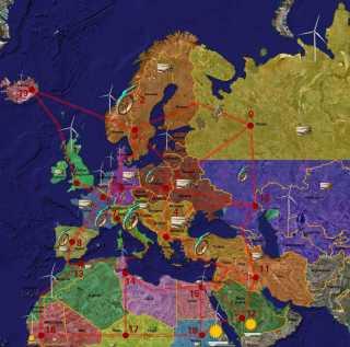 European renewable energy supergrid map Credit Wibke von Flemming