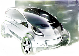 Prototype i-MiEV shown at Geneve Motor Show sketch Source Mitsubishi
