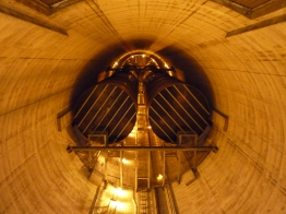Foul Funnel: A view skyward within the pollution-pumping flu stack of a coal-fired power plant in Wisconsin