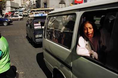 Hawking Mobility: Private minivans are La Paz's primary form of public transit
