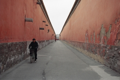 Forbidden City: Beijing cyclist enjoys a moment away from the perpetual traffic and bottlenecks on the streets outside