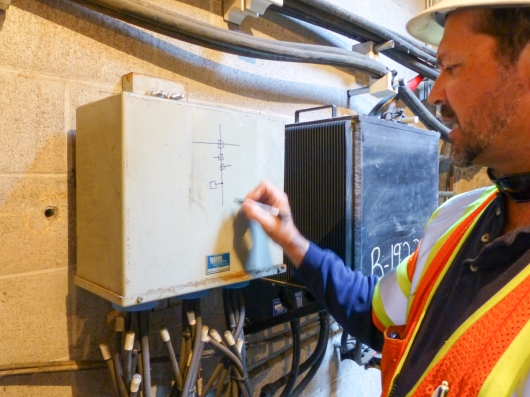 Hidden History: PG&E's Steve Austin keeps direct-current power flowing to San Francisco's legacy DC elevators via lines such as these under San Francisco's SOMA district